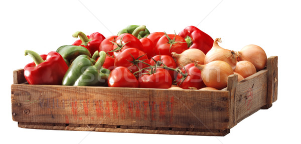 Crate of bell peppersand other vegetable Stock photo © crisp