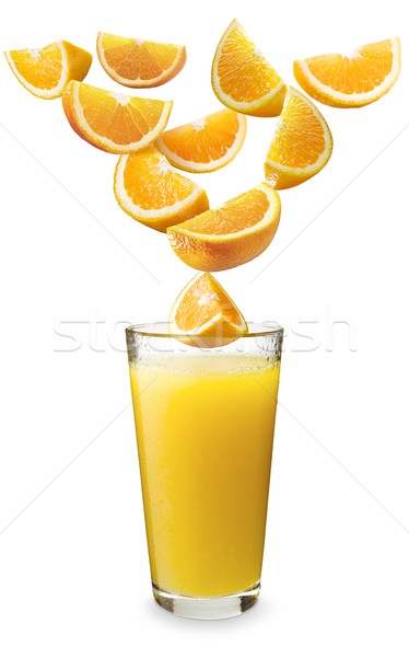Portakal düşen portakal suyu turuncu ıslak cam Stok fotoğraf © crisp