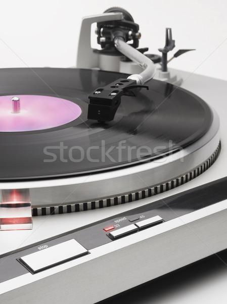 Stock fotó: Kar · lemezjátszó · közelkép · lemez · játszik · zene
