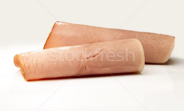 Roulé jambon deux tranches blanche table Photo stock © crisp