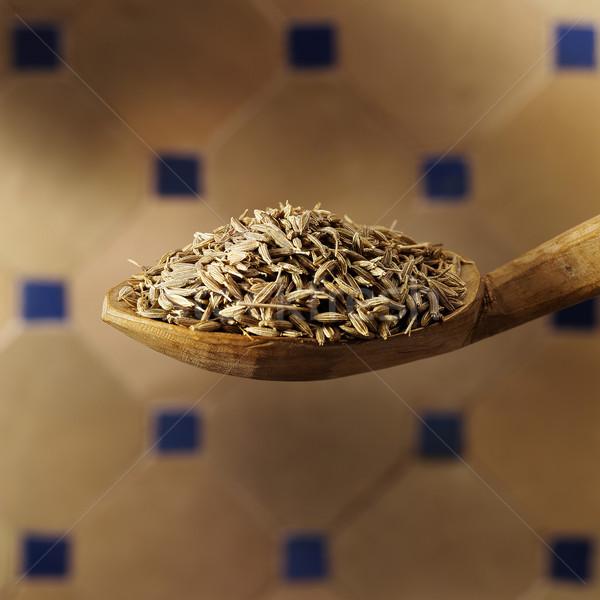 Komijn zaad lepel voedsel hout macro Stockfoto © crisp