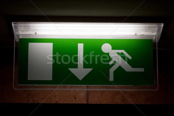 Emergency exit sign Stock photo © csakisti