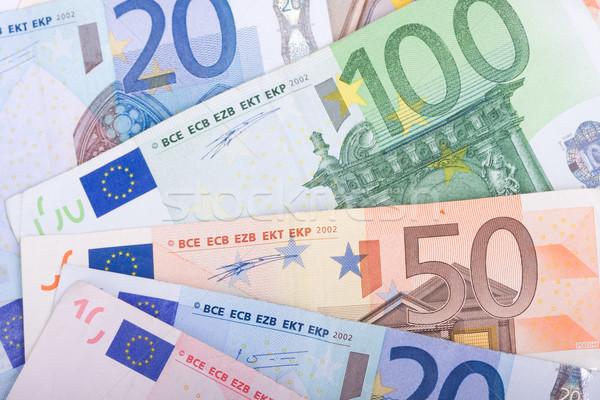 Foto stock: Euros · tabela · negócio · papel · financiar · euro