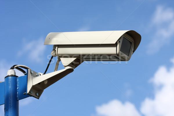 Foto stock: Segurança · filmadora · blue · sky · tecnologia · indústria · cabo