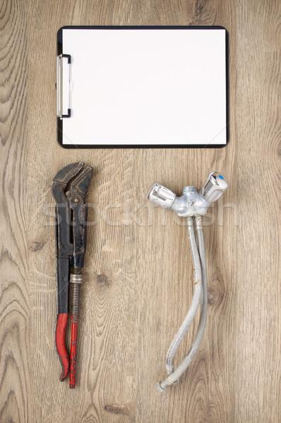 Starych rury klucz dotknij schowek zardzewiałe Zdjęcia stock © CsDeli