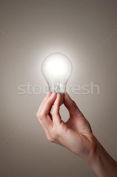 Kéz villanykörte tart izzó üzlet fény Stock fotó © CsDeli