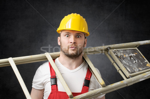 Clumsy worker with ladder Stock photo © CsDeli