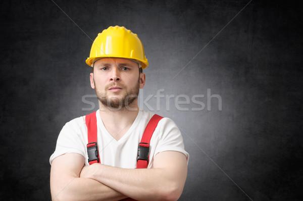 Stock fotó: Mérges · építőmunkás · bosszús · keresztbe · tett · kar · férfi · szomorú