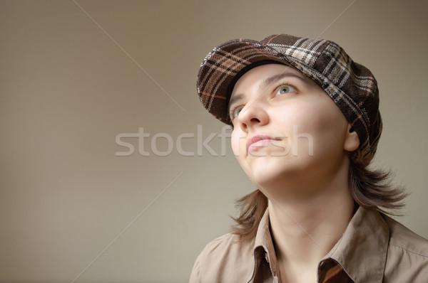 若い女性 空想 小さな 緑 女性 顔 ストックフォト © CsDeli