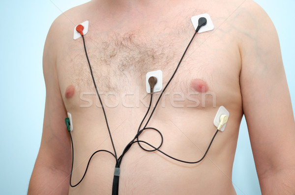 Man wearing holter monitor Stock photo © CsDeli
