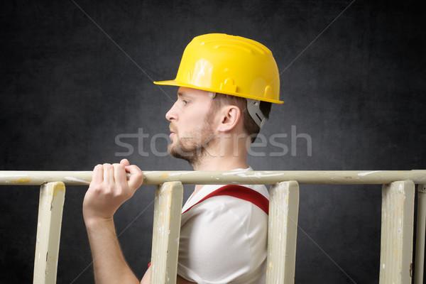 Bouwvakker ladder zijaanzicht gebouw home Stockfoto © CsDeli