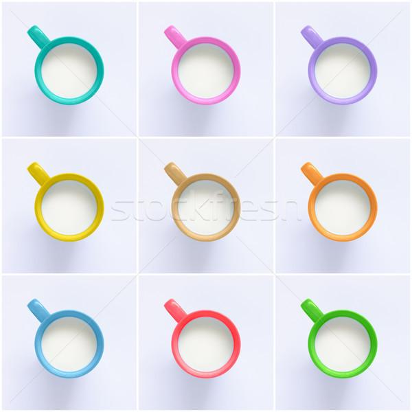 コラージュ ミルク カラフル 背景 オレンジ 緑 ストックフォト © CsDeli