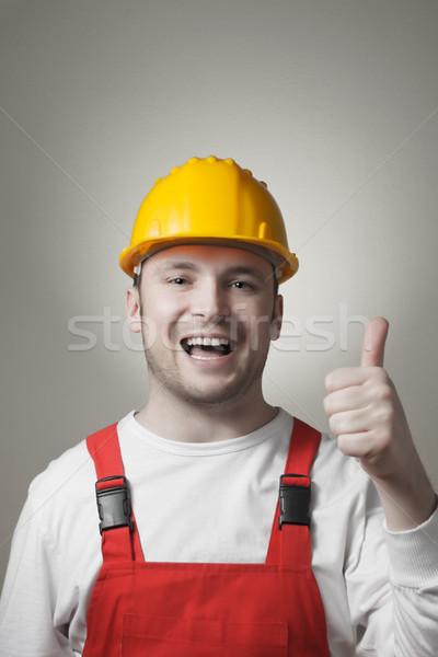 笑みを浮かべて 小さな ワーカー 幸せ 便利屋 黄色 ストックフォト © CsDeli