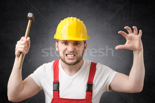 Construction worker with hammer Stock photo © CsDeli