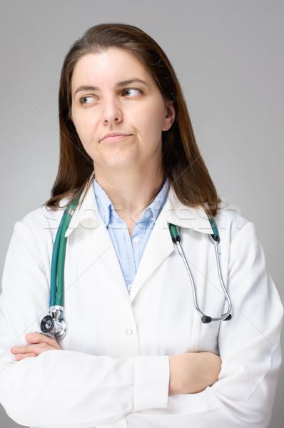 Rozczarowany lekarza portret kobiet kobieta twarz Zdjęcia stock © CsDeli