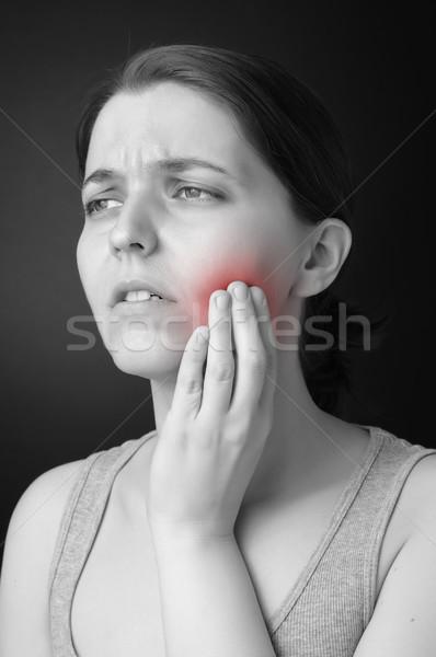 Fogfájás fiatal nő nő kéz orvosi egészség Stock fotó © CsDeli