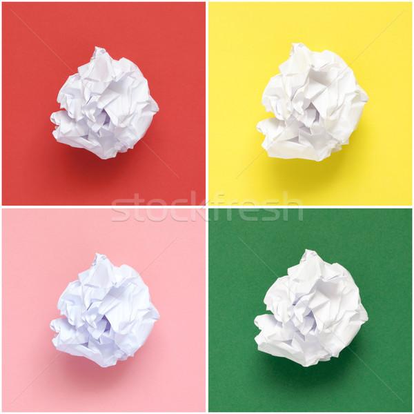 Kollázs fehér papírok színes papír háttér Stock fotó © CsDeli
