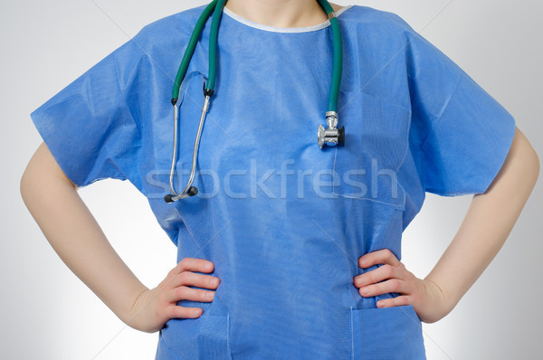 Stock photo: Confident doctor in blue uniform