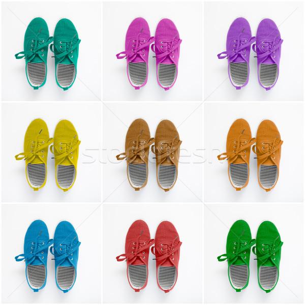 Kollázs színes cipők papír fitnessz narancs Stock fotó © CsDeli