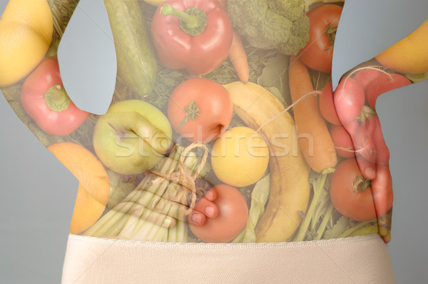 çift maruz kalma sağlıklı beslenme karın meyve sebze Stok fotoğraf © CsDeli