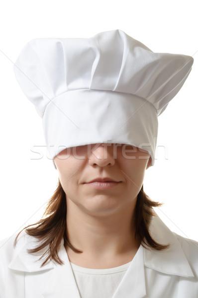 Szakács nő rejtőzködik szemek kalap étel Stock fotó © CsDeli