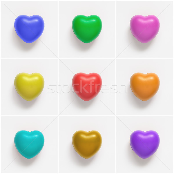 Collage of colorful heart shapes on white background Stock photo © CsDeli