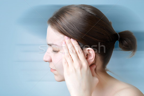 女性 頭痛 若い女性 触れる 頭 ストックフォト © CsDeli