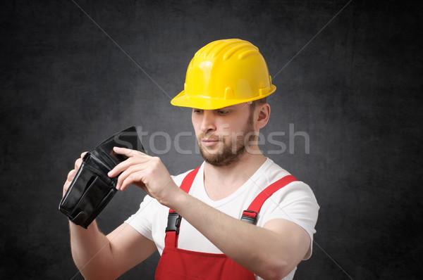 Arme bouwvakker naar geld lege portemonnee Stockfoto © CsDeli