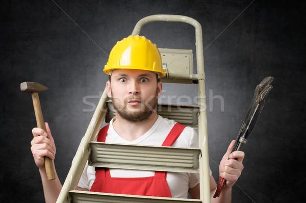 Desajeitado trabalhador ferramentas escada martelo tubo Foto stock © CsDeli