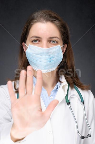 Arts tonen stopteken vrouwelijke gezicht masker Stockfoto © CsDeli