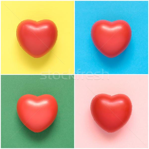 Kollázs színes szív formák papír háttér Stock fotó © CsDeli