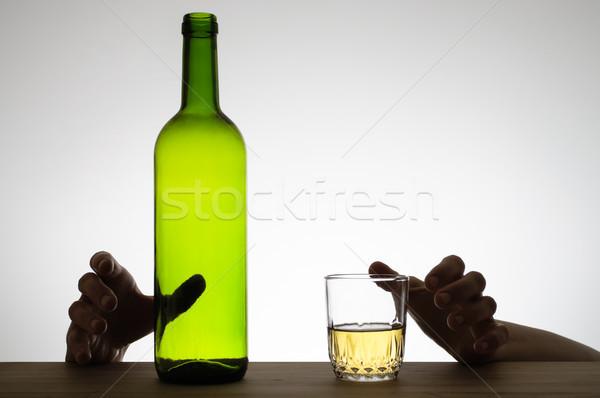 手 ガラス ボトル シルエット ワイン ワインボトル ストックフォト © CsDeli