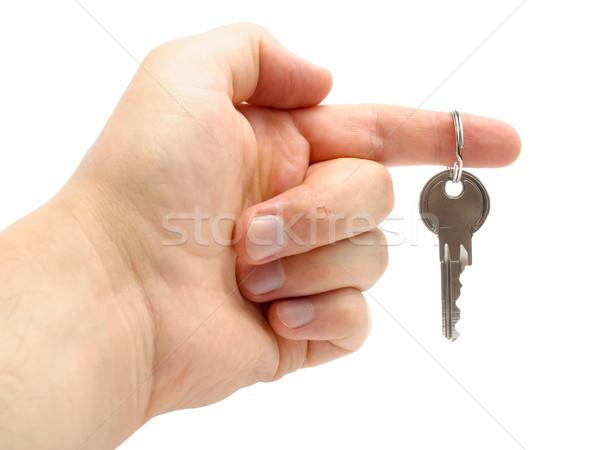 Hand sleutel geïsoleerd witte nieuw huis Stockfoto © CsDeli