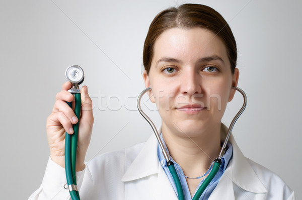Arts stethoscoop hand vrouw gezicht Stockfoto © CsDeli