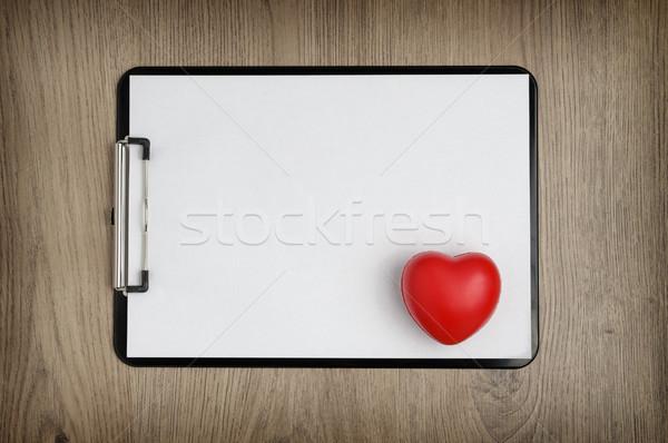 Witte papier hartvorm zwarte houten Stockfoto © CsDeli