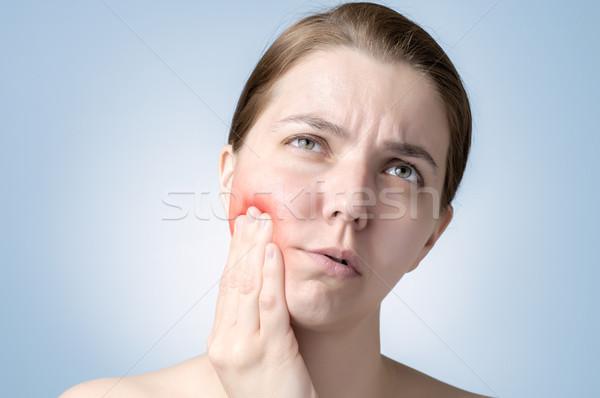 Mulher dor de dente mulher jovem sofrimento mão medicina Foto stock © CsDeli