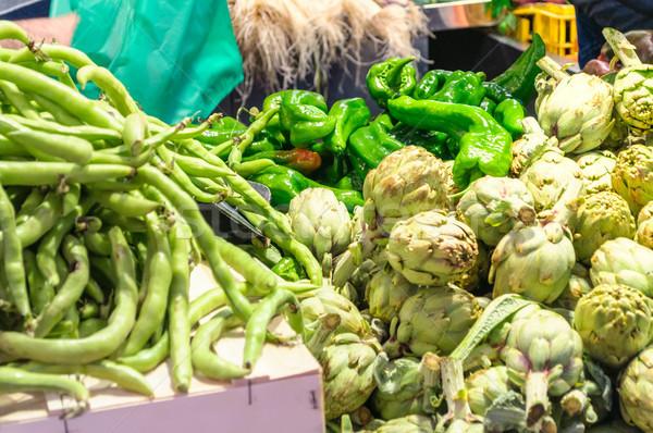 Zöldségek piac különböző központi Valencia Spanyolország Stock fotó © CsDeli