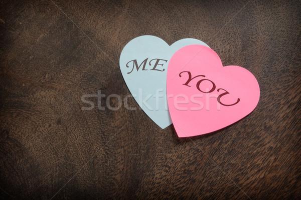 Szív alakú posta fából készült papír kék Stock fotó © CsDeli