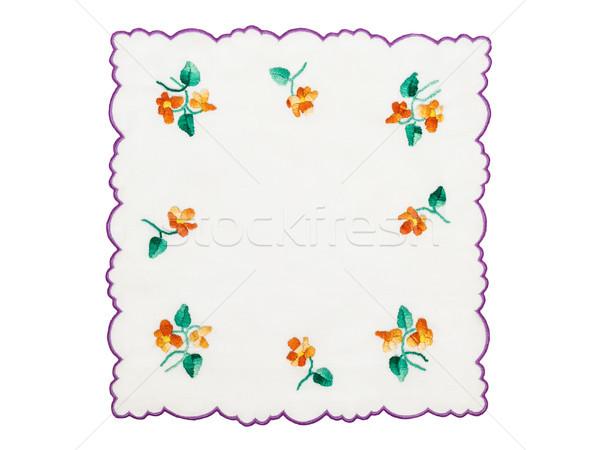 Asztalterítő hímzés virágmintás téma izolált fehér Stock fotó © CsDeli