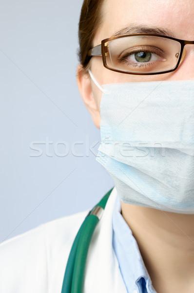 Stockfoto: Arts · masker · vrouwelijke · gezicht · naar