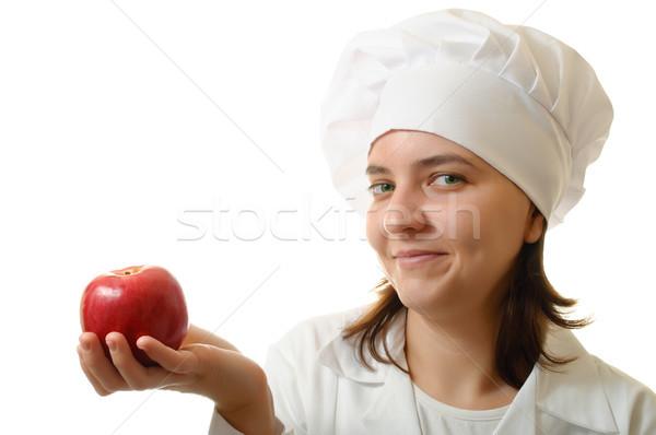Mosolyog szakács alma boldog szakács nő Stock fotó © CsDeli