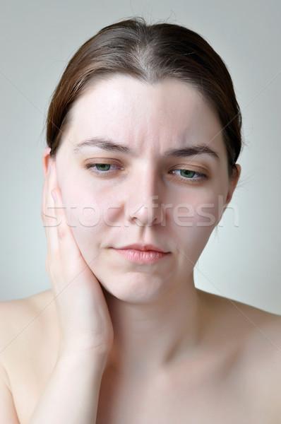 Fül fájdalom fiatal nő fájdalmas arckifejezés nő Stock fotó © CsDeli