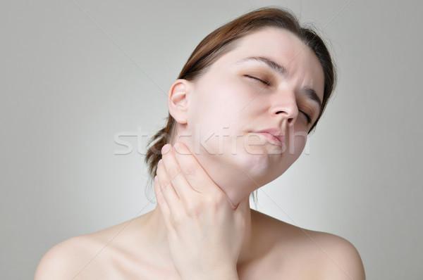 Torok fájdalom fiatal nő tart fájdalmas nő Stock fotó © CsDeli