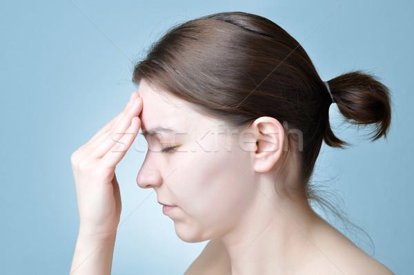 Nő szenvedés fejfájás fiatal nő megérint fej Stock fotó © CsDeli