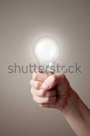Kezek villanykörték tart kettő izzó ipar Stock fotó © CsDeli