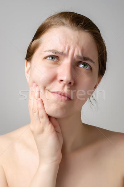 Kiespijn jonge vrouw vrouw hand medische gezondheid Stockfoto © CsDeli