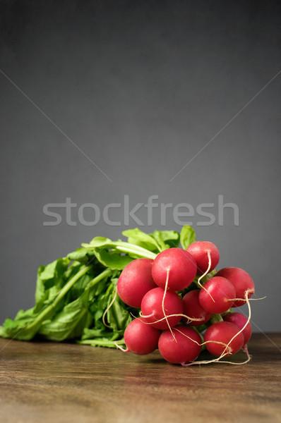 Friss retek fa asztal köteg egészség zöld Stock fotó © CsDeli