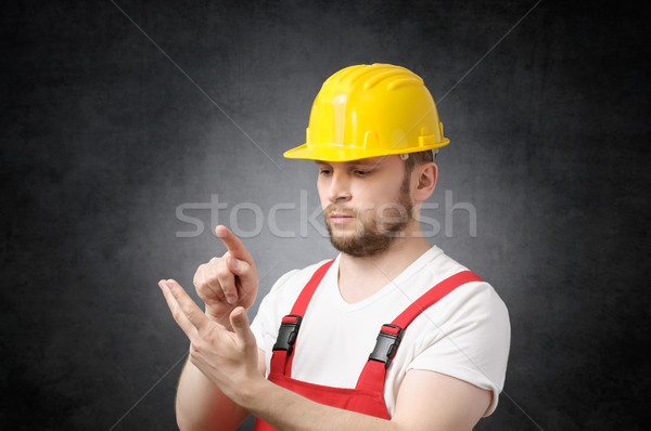 Bouwvakker ernstig hand industrie werknemer industriële Stockfoto © CsDeli
