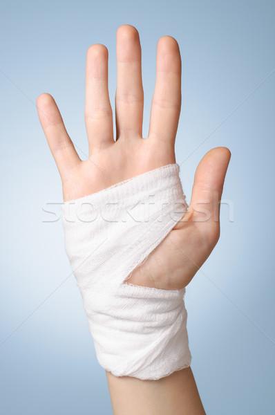 Stock fotó: Sebesült · kéz · bandázs · fájdalmas · fehér · pálma