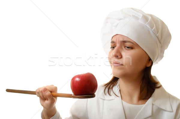 Chef manzana cuchara de madera cocinar blanco alimentos Foto stock © CsDeli